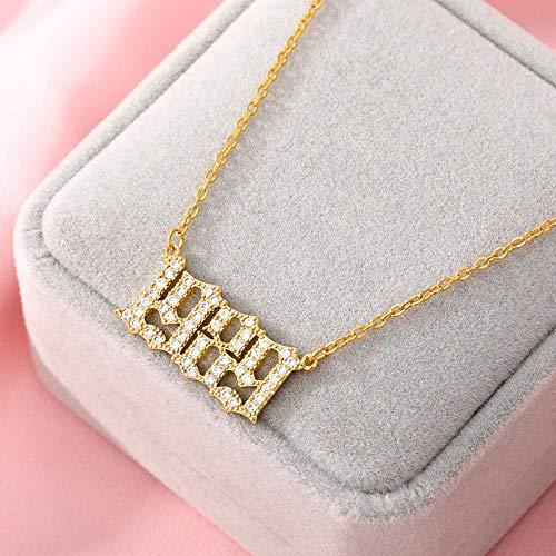 Fnho Cadena Colgante de Cristal Inicial S925,Collar de Cadena para San Valentín,Collar Vintage, Colgante Digital simple-1989