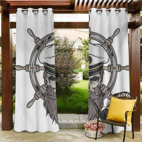 ScottDecor Skull Elegant Curtains for Pool/Gazebo/Lawn Captain Pirate Skull in Sailor Hat with Beard and Pipe Nautical Theme Print Brown White Grey 112' W by 95' L(K284cm x G241cm)