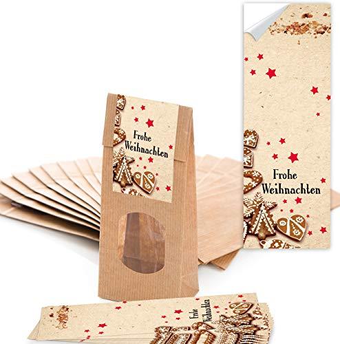 25 bruine kerstzakken met venster en pergamijn inzetstuk (7 x 4 x 20,5 cm) en 25 kerststickers