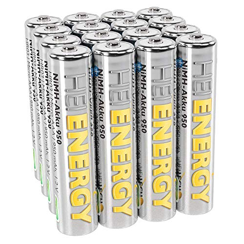 Preisvergleich Produktbild HEITECH AAA Akku Micro 950 mAh 1, 2V NiMH TÜV geprüft 16 Stück - Wiederaufladbare Batterien mit geringer Selbstentladung - Akkus für Geräte mit hohem Stromverbrauch