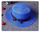 B/H Sombreros de Paja de Hechos a Mano Mujer Verano Proteccion Solar,Sombrero Plano de Verano, Sombrero de Paja Azul Playa,La Playa de la Paja del Borde Grande Ancho Cap