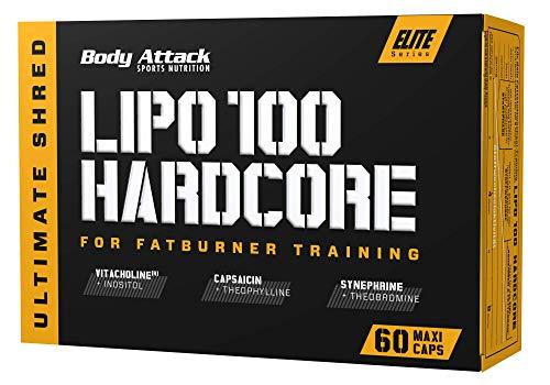 Body Attack Lipo 100 Hardcore – extrem hochdosierte Formel für Diät, fördert den Fett-Stoffwechsel mit Choline, Koffein, Grünes Kaffeebohnen-Extrakt, Synephrin, Made in Germany, 60 Kapseln