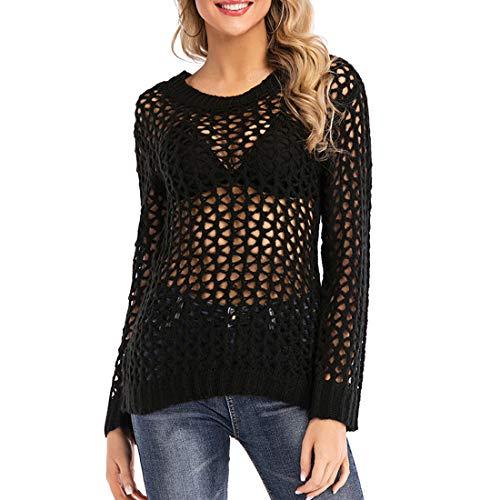 Maglione Donna Sweater Donna Sexy Casual Autunno Manica Lunga Girocollo Scava Fuori Chic Sciolto Comfort Vacanza Inverno Nuove Donna Top Black_ XL