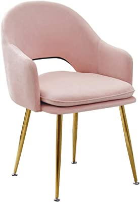 Chair - Pink Velvet Dining Chairs Kitchen Counter Leisure Side Chair Living Room Bedroom Corner Chair with Metal Legs and Backrest