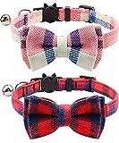 Joytale Katzenhalsband mit Sicherheitsverschluss und Glöckchen, Katzenhalsbänder mit Schleife Krawatte für Mädchen und Junge Kitten,Rosa + Rot