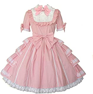 Women Girls Sweet Pink Princess Short Sleeves Multi Layers Lolita Dress with Bows