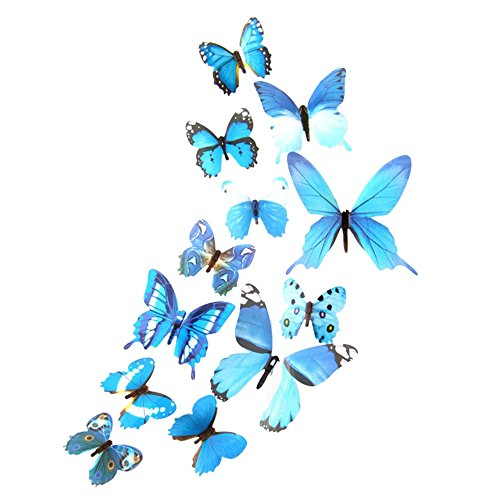 toasye 3D Schmetterlinge Wanddeko Aufkleber Abziehbilder,12 Stück Wandsticker Schmetterling,Kunststoff Schmetterling Dekorationen,Butterfly Aufkleber für Living Room Deko (Blau)