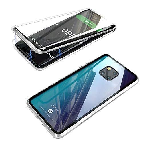 Jonwelsy Funda para Huawei Mate 20 Pro, Adsorción Magnética Parachoques de Metal con 360 Grados Protección Case Cover Transparente Ambos Lados Vidrio Templado Cubierta para Mate 20 Pro (Plata)