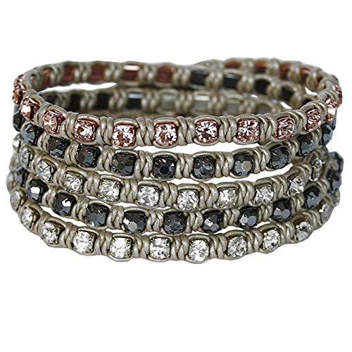 Nakamol Bracelet tressé avec perles Beige