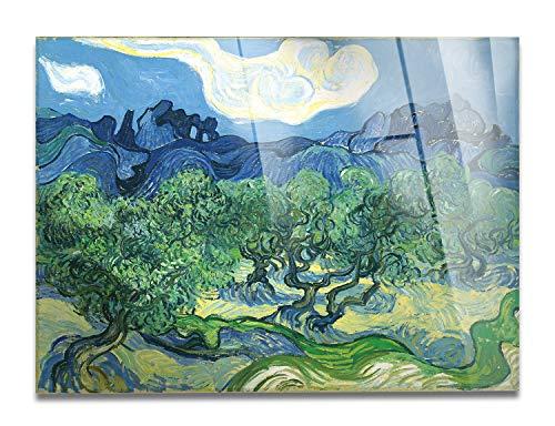 - Cuadro - Vincent Van Gogh - Olivos en un Paisaje de montaña - Impresión sobre Vidrio acrílico de plexiglás - Listo para Colgar - Varios tamaños 100x70 cm