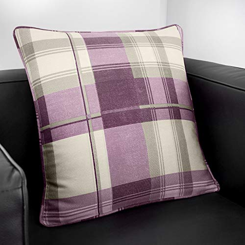 Fusion - Balmoral Check - 100% Cotton Filled Cushion - 43x43 cm in Plum