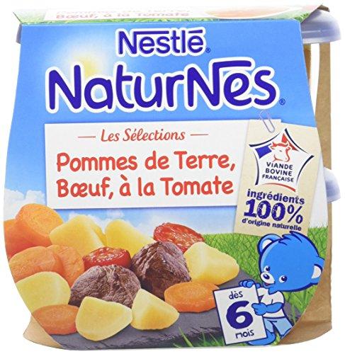 NESTLE NATURNES Les Sélections Petits Pots Bébé Pommes de terre, Bœuf à la tomate -Lot de 2 -Dès 6 mois