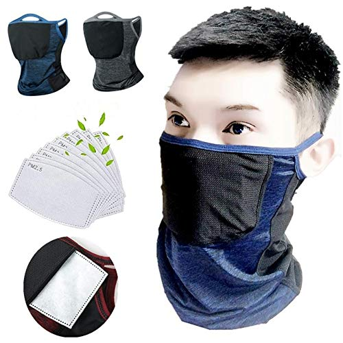Cooling Neck Gaiter with Safety Carbon Filters - Unisex Bandana Face Mask Dust Half Fishing Face Scarf Reusable Ice Silk Cloth is Breathable and Anti-UV, Suitable for Hiking, Running, Cycling 2+20pcs