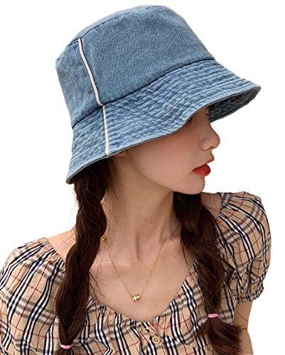 Pyrafox Womens Sun Protection Bucket Hats Foldable Spring Travel Denim Hat Cute Gardening Hat Ladies Light Blue