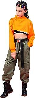 Conjunto de 3 Piezas Ropa de Hip Hop para niñas Elegante Traje de Baile Callejero, Chaleco, Camiseta, Pantalones Cargo