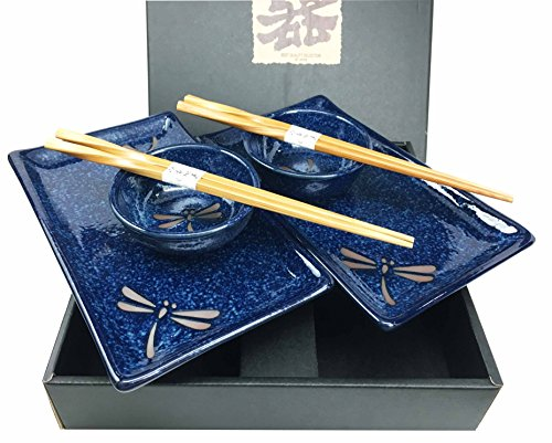 Made In Japan Dragonfly Symbol of Change In Life's Perspective Ceramic Sushi Dinnerware Set For Two Plates Sauce Bowls and Chopsticks For Home Decor Housewarming Gift