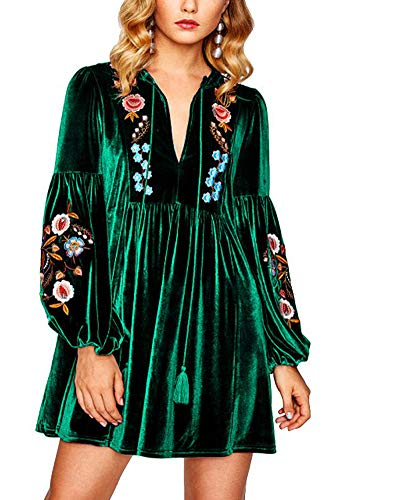 Roiii Tasseled Tie Bishop Sleeve Embroidery Velvet Dress Wine Red Long Sleeve V Neck A Line Fall Women Dresses (M, Green Full)