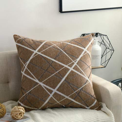 ZHANGHome Chanel - Cojín para dormitorio, cojín de cintura, cojín grande, cojín trasero, 55 x 55 cm, solo funda de cojín Chanel Stripes – Curry