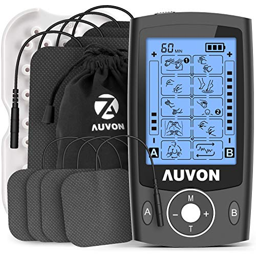 AUVON Dual Channel TENS Machine Muscle Stimulator Machine with 20 Modes, 2' and...
