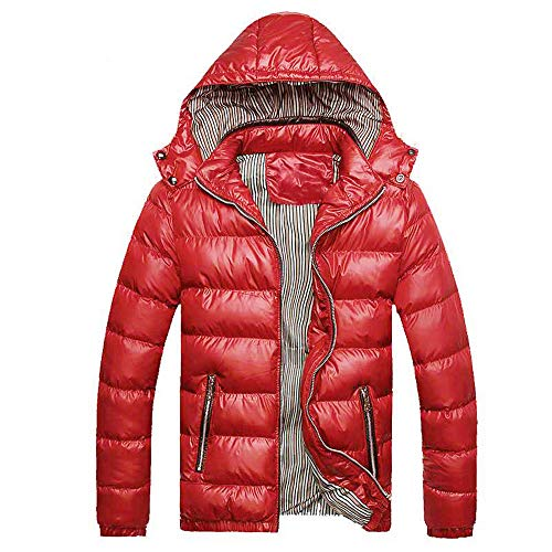 Mens Thicken Outerwear, Balakie Detachable Hood Jacket Solid Padded Bubble Coat(Red,M)