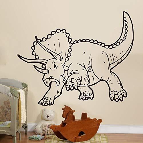 Jsnzff Triceratops Pegatinas de Pared Dinosaurio prehistórico Pegatinas de Pared de Dibujos Animados Dinosaurio Vinilo Pegatinas de Pared decoración de la habitación del niño 84x68cm