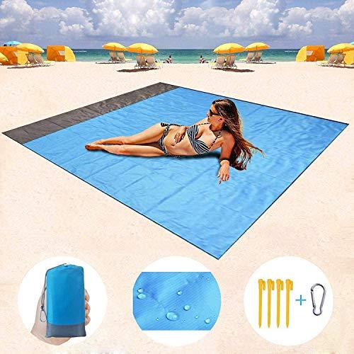Picknickdecke Stranddecke Wasserdicht Strandmatte, Strandtuch sandabweisende Tragbare Camingmatte Mit 4 Befestigung Ecken, für den Strand, Campen, Outdoor Events, Wandern und Ausflüge(210 X 200 cm)
