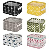 Leaf&cici-Mini Storage Box(Pack of 6) Collapsible Canvas Storage Basket, Square Mini Basket, for Storing Cosmetics, Baby Toys, Keys, Books, Office Supplies, etc.