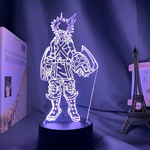 Lámpara acrílica 3D Anime My Hero Academia Dabi Led Light, para decoración de Dormitorio Cool Manga Regalo para él RGB Colorful Night Light Dabi(16 Color with Remote,DM48)