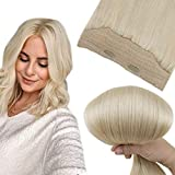 Easyouth Secret Fish Wire Hair Extensions Human Fish Line Hair 16 Inches 80g Color 60 Platinum Blonde Seamless Hidden Crown Hair Extensions