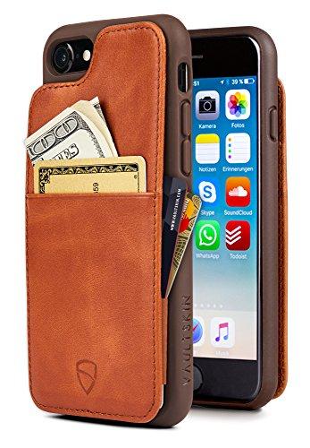 Cover iPhone Vaultskin ETON ARMOUR con spazio per carte e banconote, ultra sottile, in vera pelle, contiene fino a 8 tessere (iPhone 7/8, Cognac)