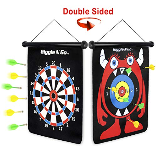 GIGGLE N GO Magnetic Darts - Very Popular Gifts for Boys and Girls Toys for Age 5 and Above - Reversible and Easy to Set Up, Magnetic Dart Boards, The Safe Indoor Games Option (Monster Theme)
