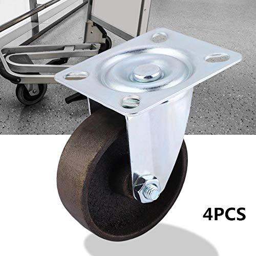 Zwenkwielen, draaibaar, rollen, met rem, afsluitbaar, 3 inch, zwaar, stil, gebruikt in industriële en woonruimtes, 4 stuks, beercapaciteit 1400 kg.