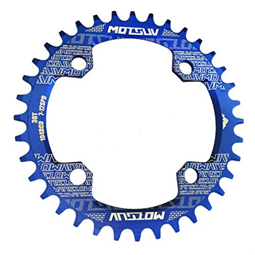 XUJINQI Horquilla de Bicicleta de montaña, Estrecho Ancho Chainring MTB Bicicletas 104BCD Piezas Diente de Placas (Color : Blue)
