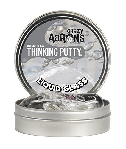 Crazy Aaron's Thinking Putty - Liquid Glass - Fidget Toy - Crystal Clear Color - Never Dries Out - 4 inch Storage Tin - 3.2 Ounces
