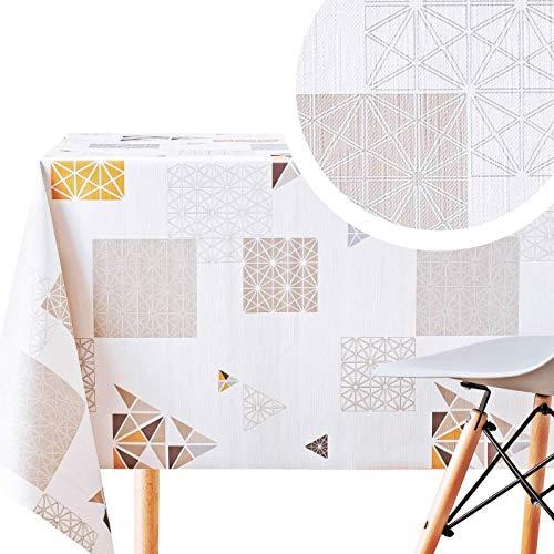 Manteles Hule Modernos Scandic Blanco con Beige Crema de PVC Fácil de Limpiar - 200 x 140 cm - Mantel Rectangular de Vinilo Plástico Fácilmente Limpiable con Diseño de Marrón Nordic Geometrico