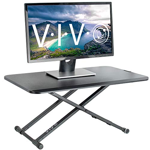 VIVO Black Small Single Top 29 inch Standing Desk Converter | Tabletop Sit to Stand Monitor Riser with Scissor Lift Height Adjustment (DESK-V011F)