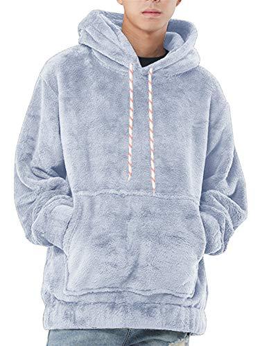 Runcati Mens Fuzzy Sherpa Pullover Fleece Hoodie Sweatshirts Long Sleeve Fluffy Front Pocket Fall Outwear Winter Hooded Sky Blue