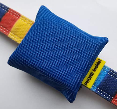 josi.li Trackertasche für GPS-Sender 51x41x15mm, hochwertiges Segeltuch in vielen Farben, bis 50mm Halsbandbreite (blau)