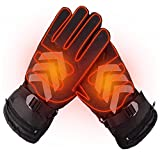 Battery Powered Rechargeable Heated Gloves, Waterproof Insulated Motorcycle Warm Touch Screen Gloves for Winter Outdoor Camping Hiking Hunting (Two batteries)