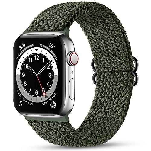 Maledan Compatibile per Apple Watch Cinturino 44mm 42mm,Cinturino di Ricambio Elastico Intrecciato Regolabile Compatibile con Apple Watch SE/iWatch Series 6/5/4/3/2/1-Verde Scuro
