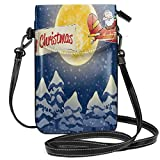 Women Small Cell Phone Purse Crossbody,Santa Claus Airline Theme Vintage Plane Full Moon Snow Covered Trees