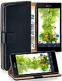 MoEx® Booklet mit Flip Funktion [360 Grad Voll-Schutz] für Sony Xperia Z1 Compact | Geldfach & Kartenfach + Stand-Funktion & Magnet-Verschluss, Schwarz