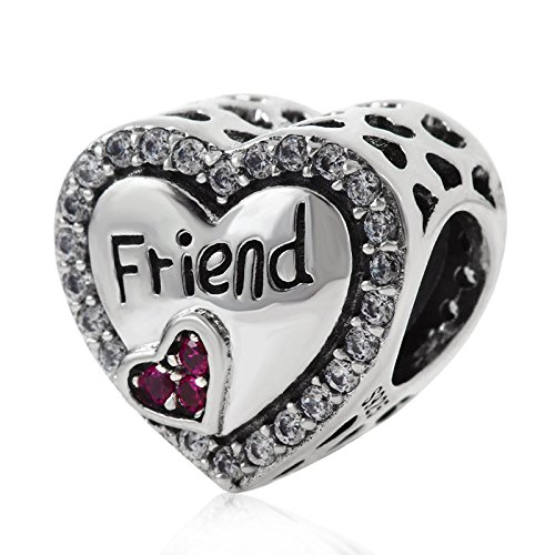 Love Heart Charm Beads 925 Sterling Silver Mom Grandmother Best Friend Boys and Girls Happy Birthday Charms for Bracelet,Compatible with Pandora Charms European Bracelet (Friend)
