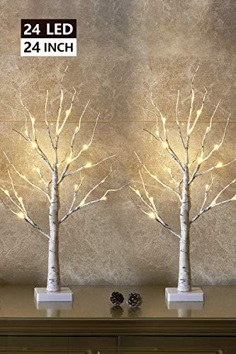 Set of 2- EAMBRITE 2FT 24LT Warm White LED Birch Tree Light Tabletop Bonsai Tree...