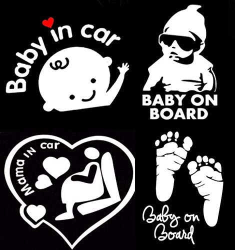 Baby Car Stickers, Anlising Baby on Board Car Stickers Baby in Car Mama in Car Sticker Safety Signs Waterproof Car Stickers Baby Car Stickers and Decals(4 Pack)