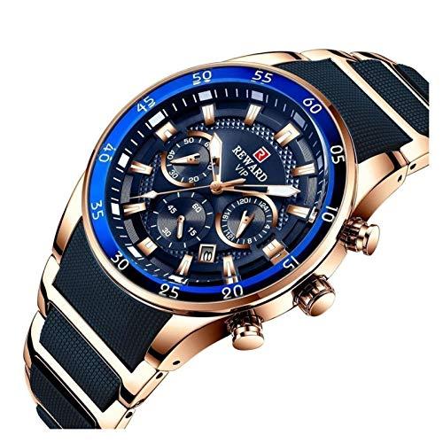 JCCOZ-URG Moda a Prueba de Agua Relojes for Hombre Reloj de Lujo Cuarzo Reloj de Silicona Hombres Cronógrafo Sport Watch Watch URG