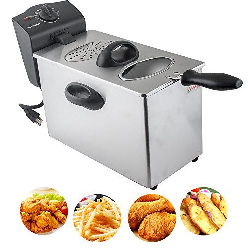 "CARESHINE 4L/1GAL Electric Fryer Commercial Deep Fryer Single-tank Countertop Stainless Steel Fryers with Frying Basket for Restaurant Home Kitchen 2500W 17.7""x12.2""x9.8"""