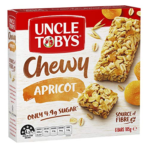 UNCLE TOBYS Muesli Bars Chewy Apricot 6 Pack, 185g