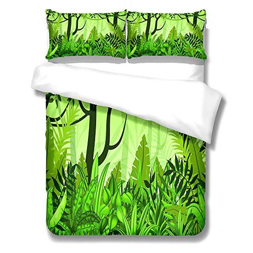 BLZQA Plantas Verdes 3D Funda nórdica de 200 x 200 cm Juego de Ropa de Cama de Microfibra Ligera (1 Funda nórdica + 2 Fundas de Almohada 50x75cm)