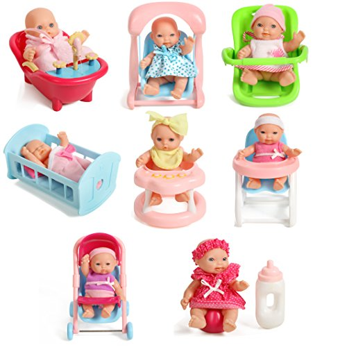 """Mommy & Me Newborn Set of 8 Assorted 5"""" Mini Baby Dolls with Accessories, High Chair, Stroller, Crib, Car Infant Seat, Bath, Potty, Swing"""